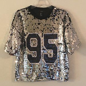 Forever 21 Sequin Jersey Style Top